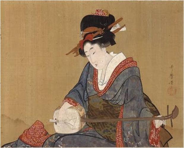 Jeune femme jouant du Shamisen (détail) Kitagawa Utamaro – 1805